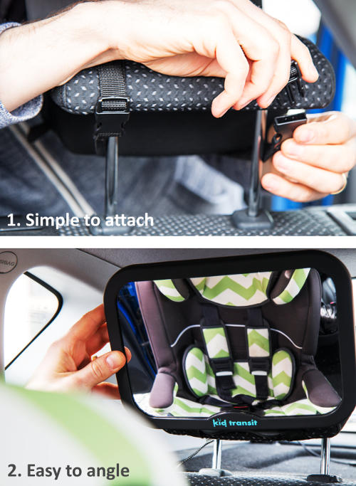Baby Car Mirror Attached and Angled