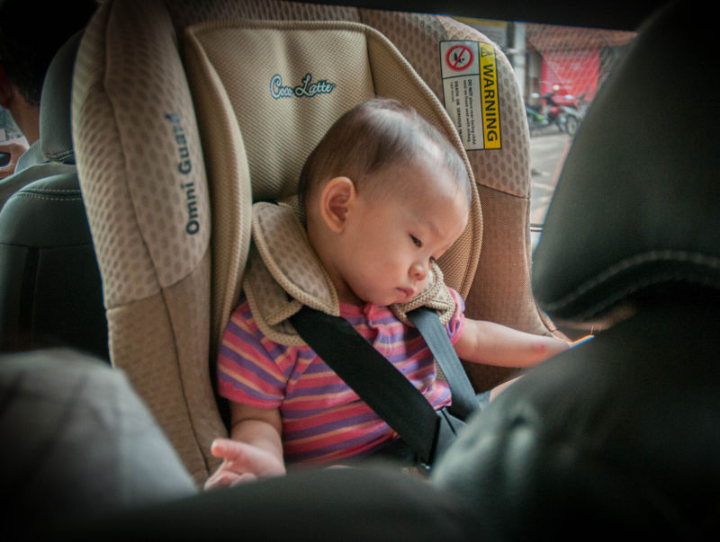 baby in rear facing car seat