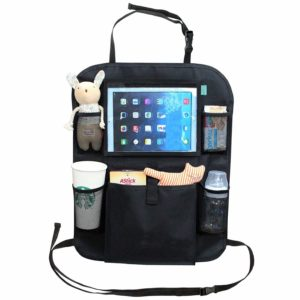 black car seat organiser ipad and tablet