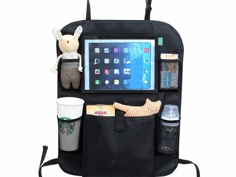 black car seat organiser ipad and tablet