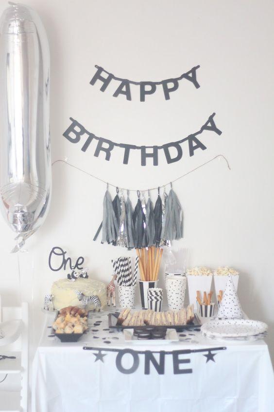 First Birthday Party Theme Ideas Monochrome Black and White