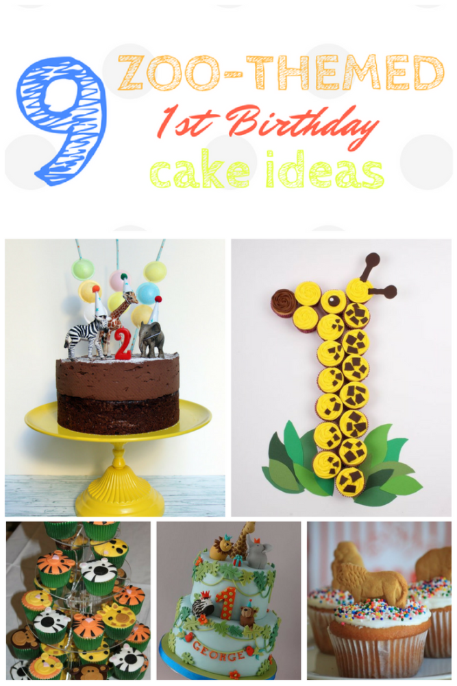 9 Zoo Themed Birthday Cakes for a first birthday party. #kidsparty #zooparty #firstbirthday