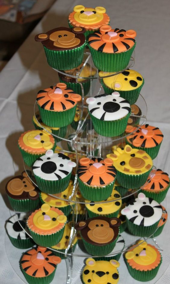 Zoo Themed First Birthday Cupcakes