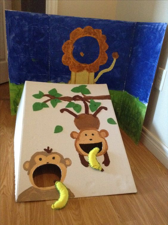 Zoo Themed First Birthday Party Games Monkey Banana Throw