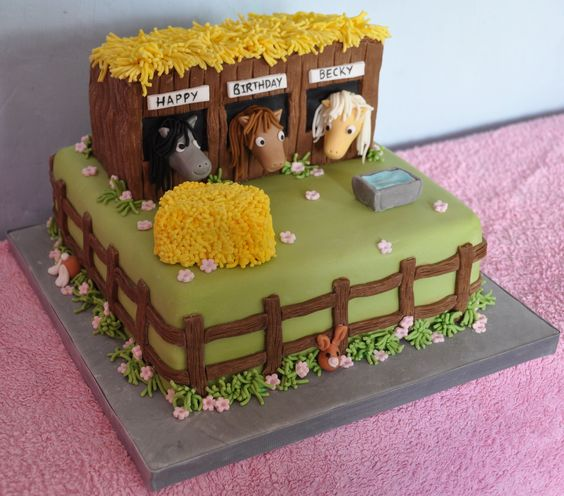 Farm Themed First Birthday Party Cakes stable cake