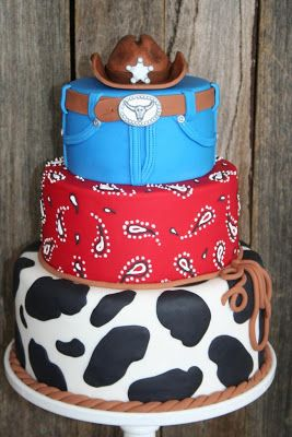 Farm Themed First Birthday Party Cakes cowboy pattern tiered cake