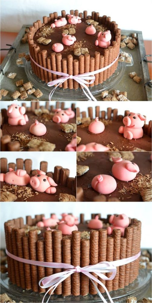 Farm Themed First Birthday Party Cakes pig in mud cake