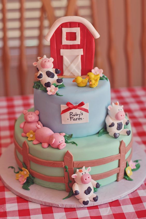 Farm Themed First Birthday Party Cakes farm tiered cake