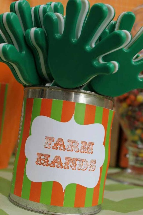 Farm Themed First Birthday Party Favours clapper hand toys