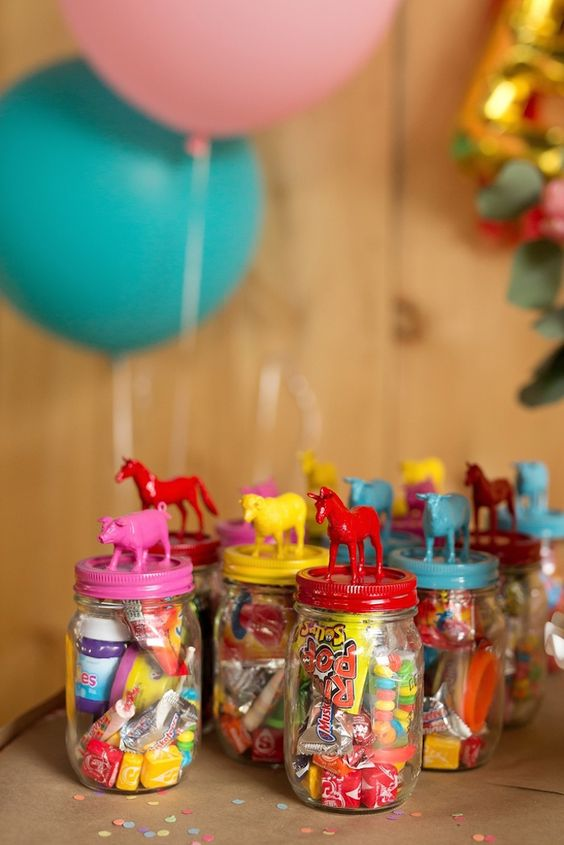Farm Themed First Birthday Party Favours jar of sweets
