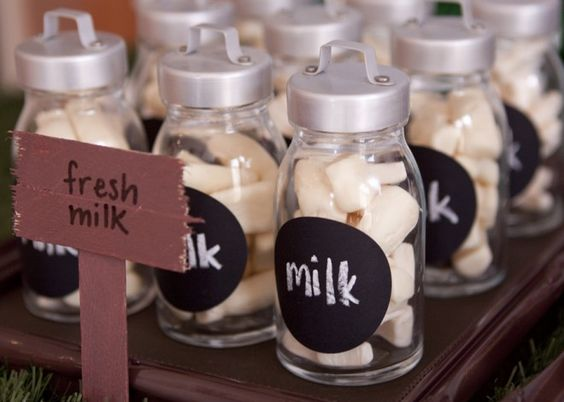 Farm Themed First Birthday Party Favours milk bottle sweet jar
