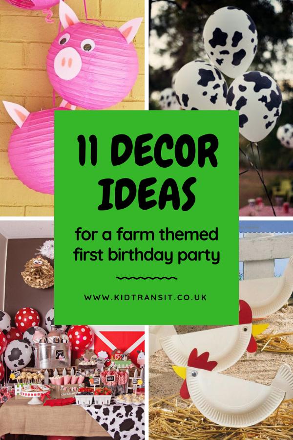 11 farm theme decor ideas for a first birthday party. #farmparty #firstbirthday #kidsparty #farmdecor