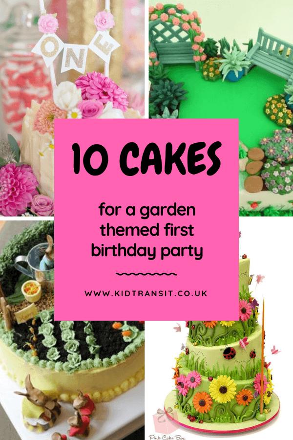 10 garden theme birthday cakes for a first birthday party. #birthdaycake #cake #gardenparty #kidsparty