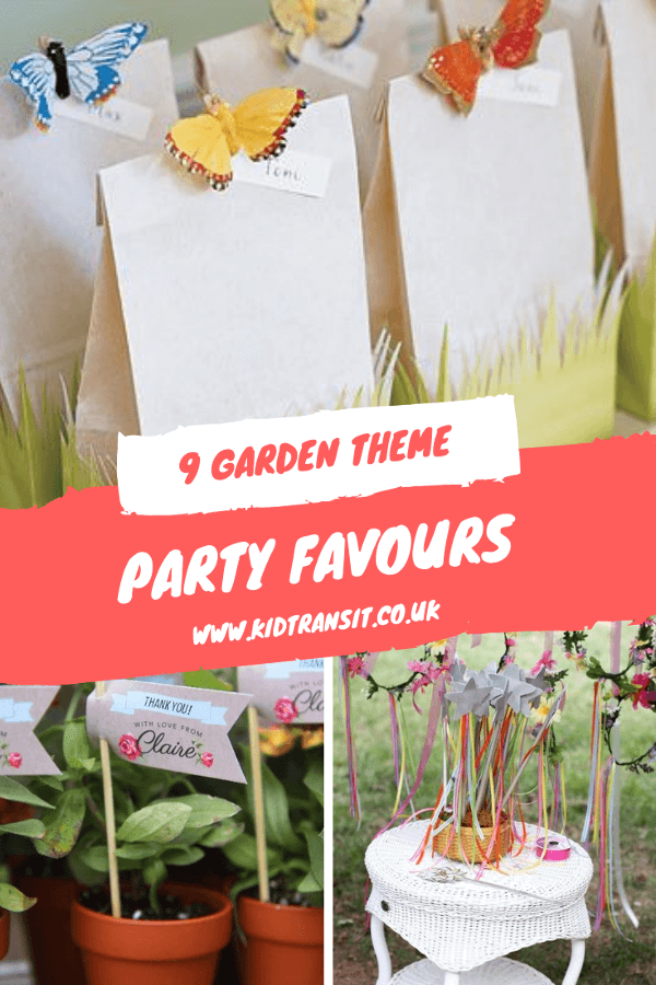 9 garden theme party favours for a first birthday. #gardenparty #firstbirthday #kidsparty #partyfavours #partybags