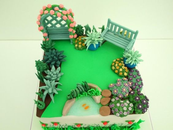 Garden Themed First Birthday Party Cake