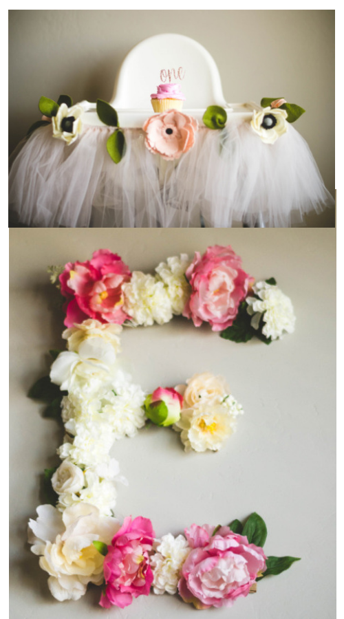 garden party decor ideas fresh flowers high chair and letter decoration