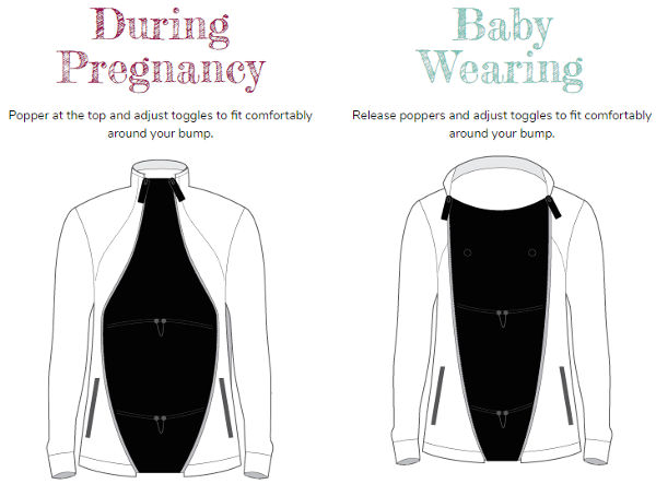 Baby wearing coats and panels to use over baby carriers