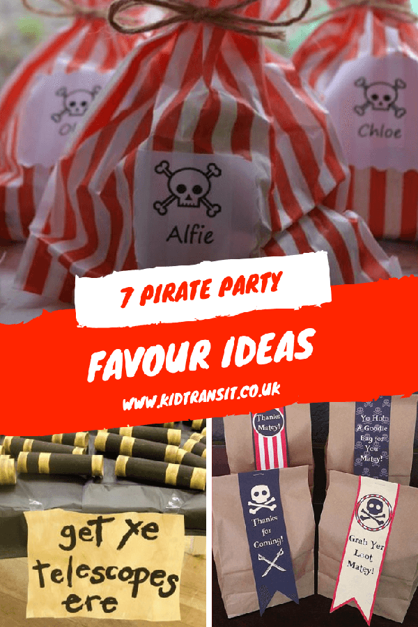 Pirate party favours and party bags for a children's first birthday party