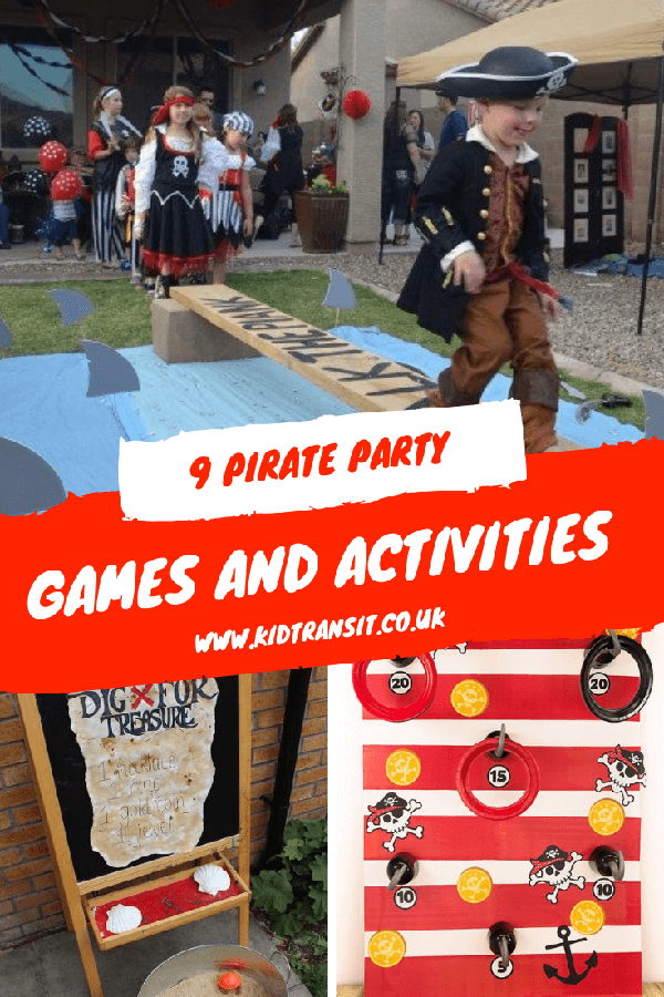 Pirate theme party games and activities for a pirate children's birthday party