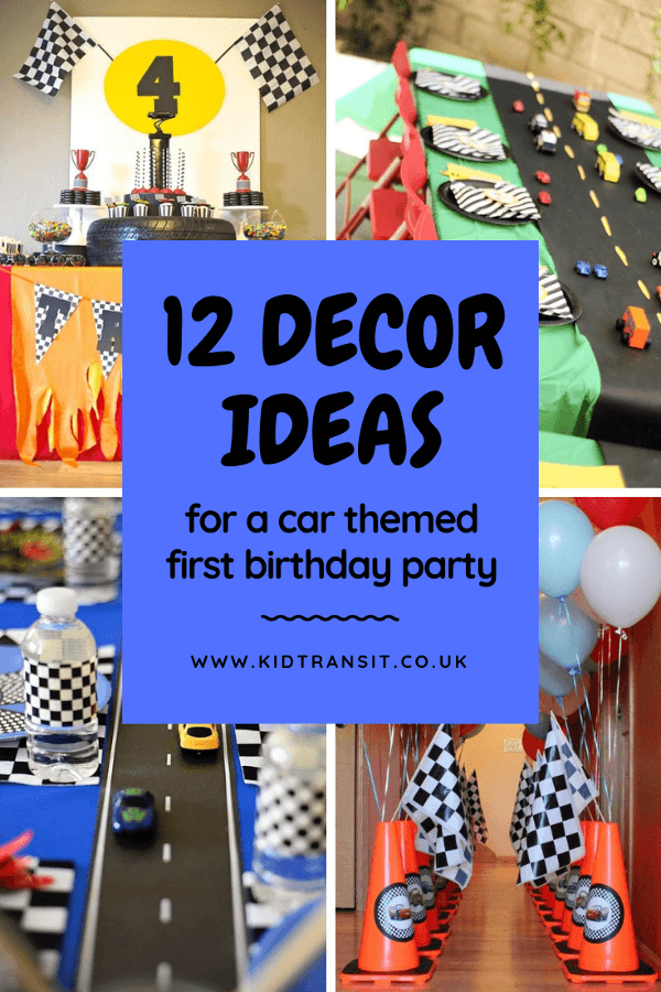 12 car theme decor ideas for a first birthday party. #carparty #partydecor #firstbirthday #kidsparty
