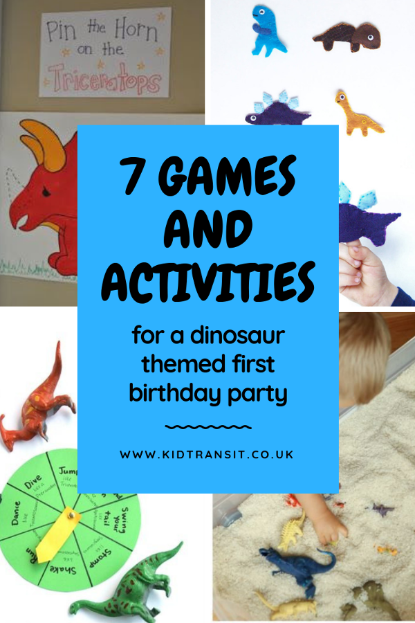 7 dinosaur games and activities to play at a dinosaur theme first birthday party. #dinosaurparty #partygames #partyactivities #kidsparty #firstbirthday