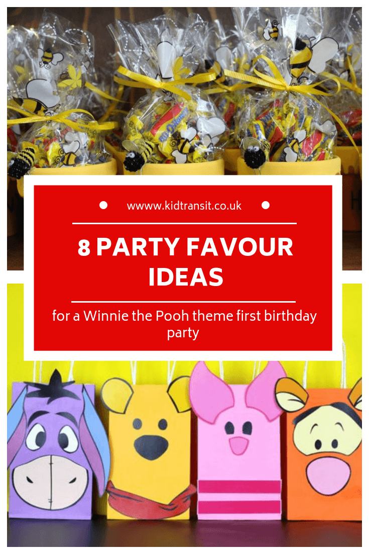 8 party favours for a Winnie the Pooh first birthday party
