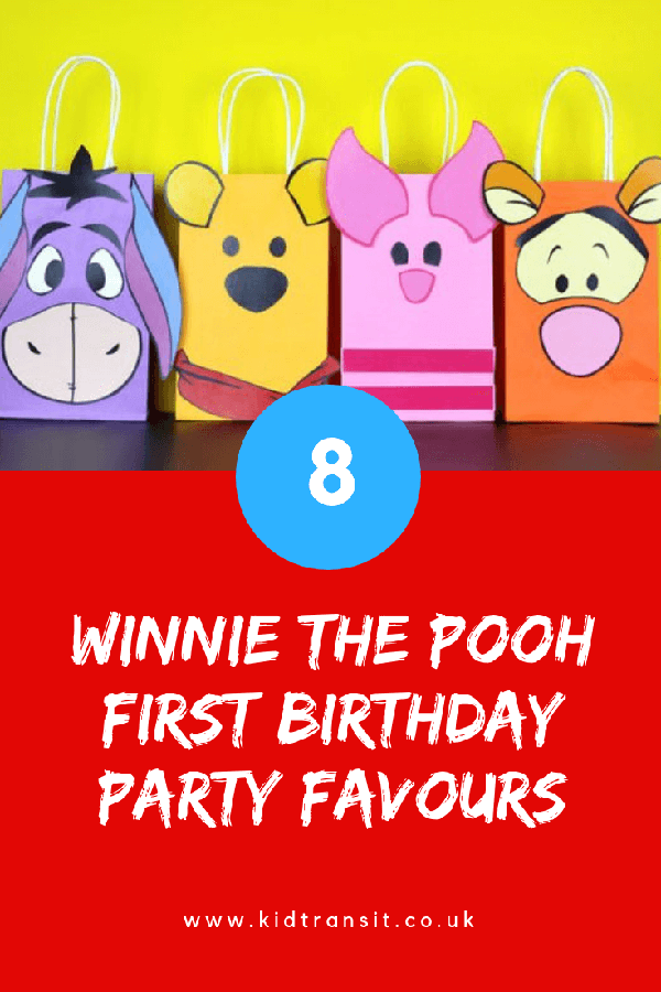 Winnie the Pooh birthday party favours for a first birthday party.