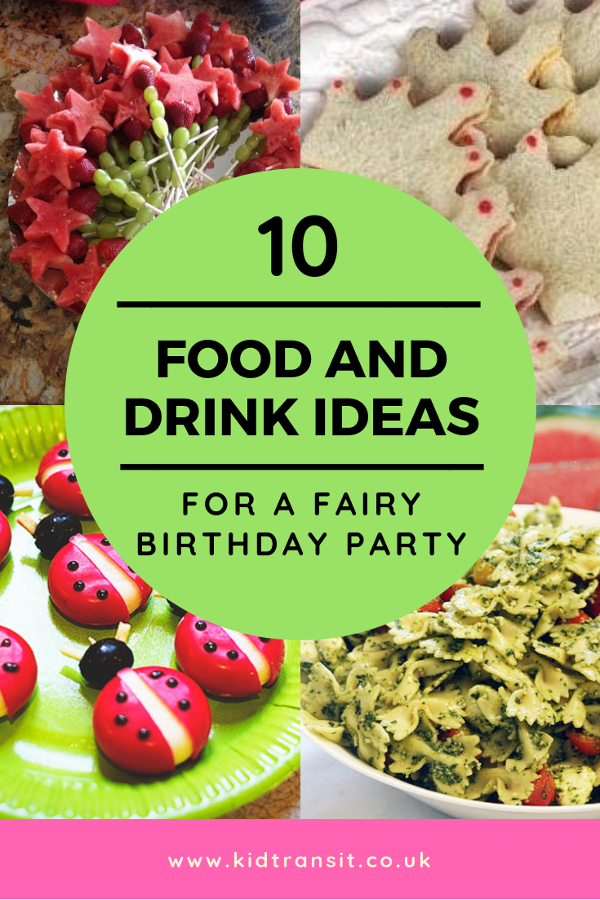 10 fairy theme party food and drink ideas for a first birthday party. #firstbirthday #fairyparty #partyfood #kidsbirthday