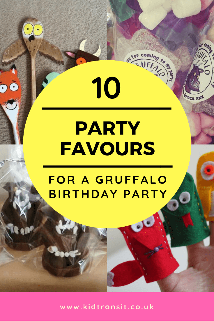 10 party favours for a Gruffalo theme first birthday party
