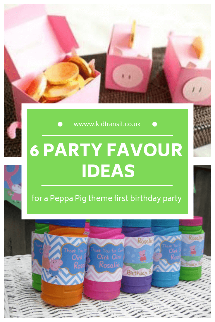 6 birthday party favours for a Peppa Pig theme first birthday party