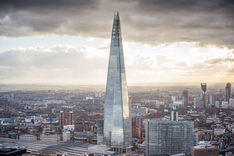 The Shard view from Sky Garden London skyline