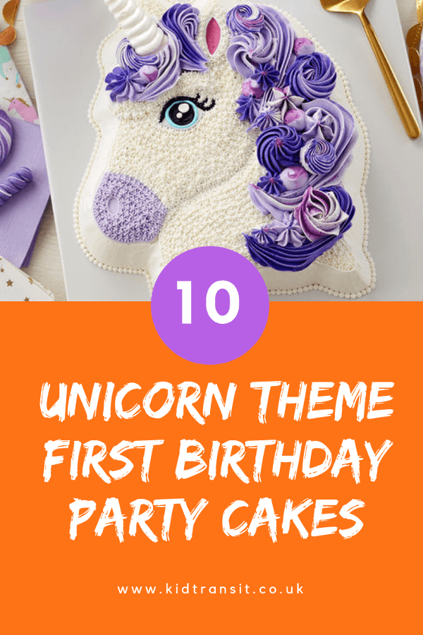 Unicorn birthday cakes for a first birthday party.