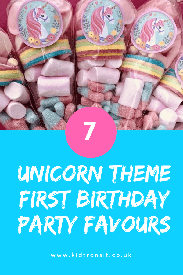 Unicorn birthday favours for a first birthday party.