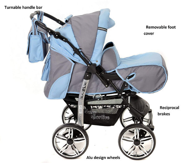 Classic 3 in 1 travel system pram reversible position