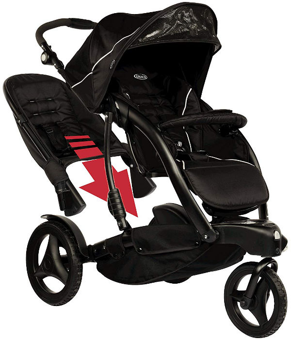 Graco Trekko Duo three wheel stroller removeable back seat