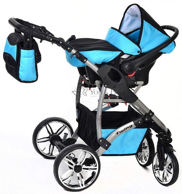 Twing 3 in 1 travel system car seat set up