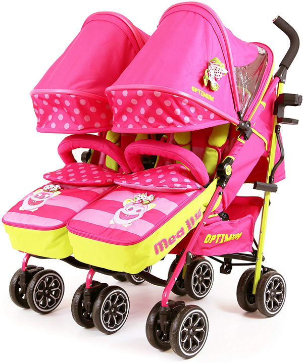 isafe twin optimum double stroller buggy pink
