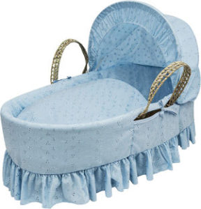 kinder valley broderie anglaise moses basket blue