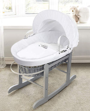 sleepy little owl grey wicker moses basket and stand