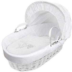 white teddy moses basket