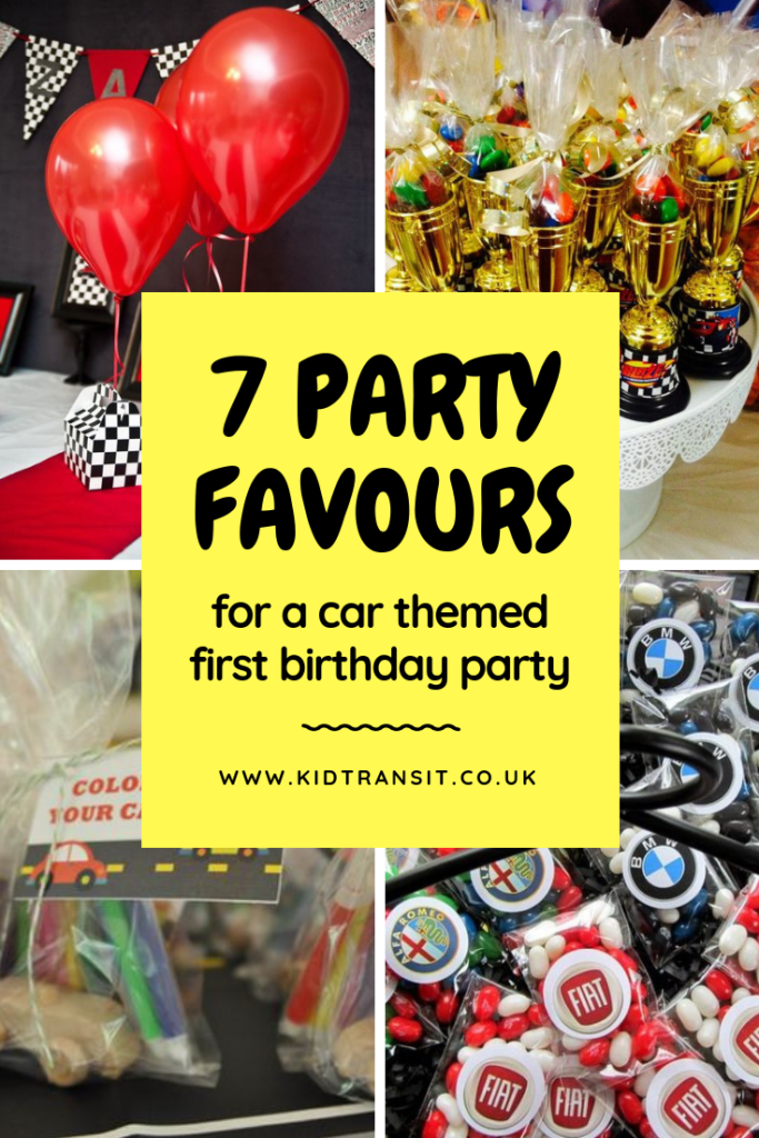 7 car themed party favours for a first birthday party