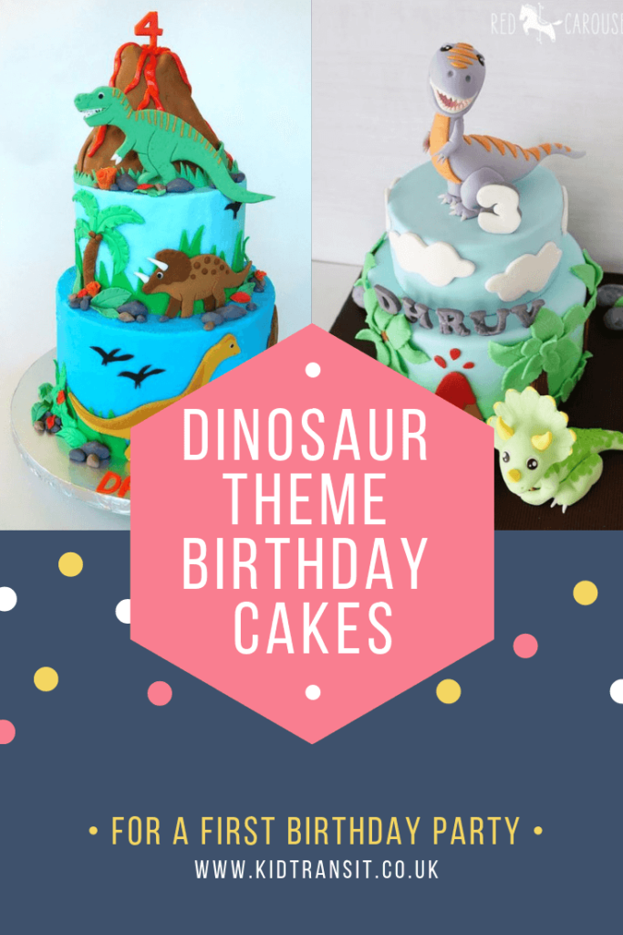 Birthday cake ideas for a dinosaur theme first birthday party.