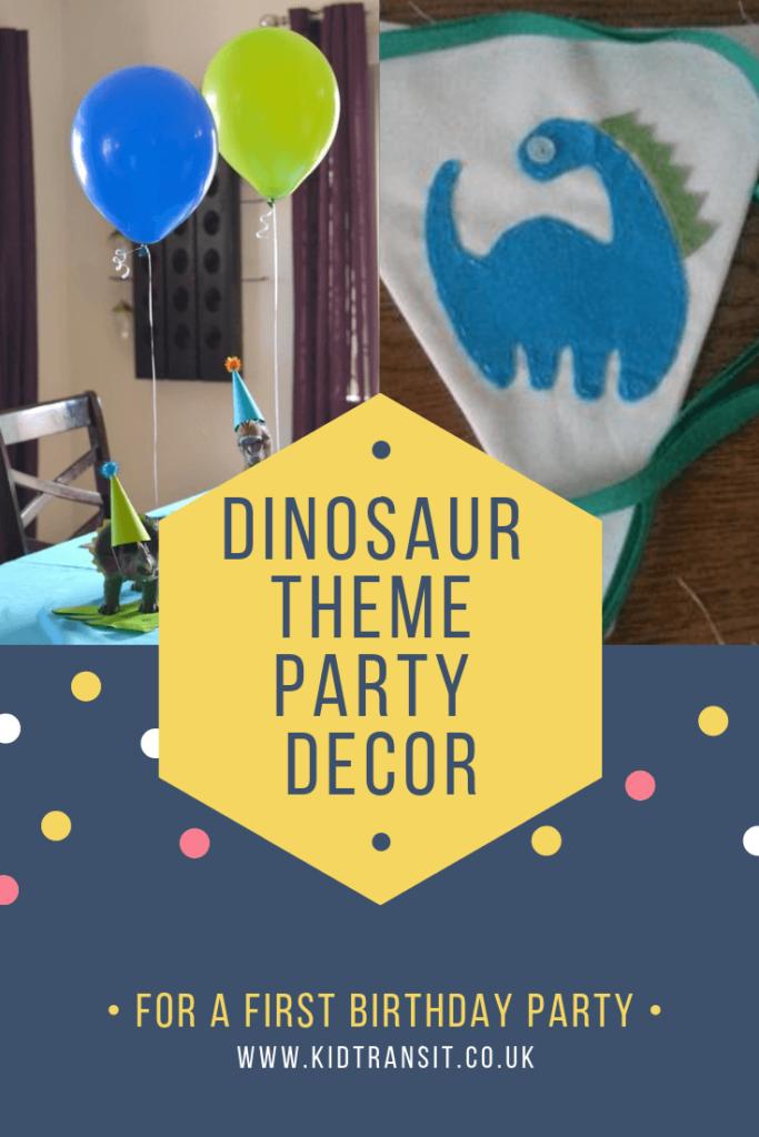Birthday party decor ideas for a dinosaur theme first birthday party.