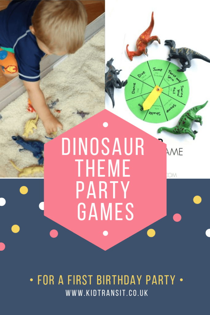 Birthday party game and activities for a dinosaur theme first birthday party.
