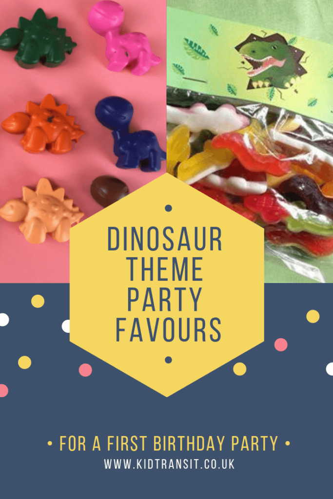 Party favour ideas for a dinosaur theme first birthday party.