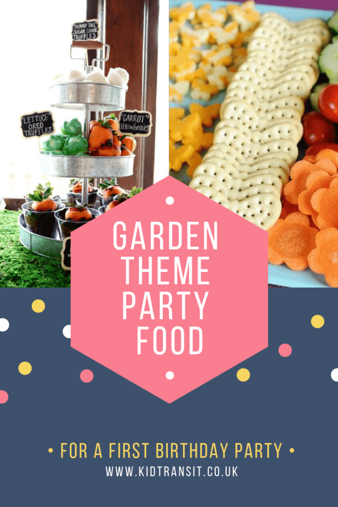 Party food and drink for a flower garden theme first birthday party