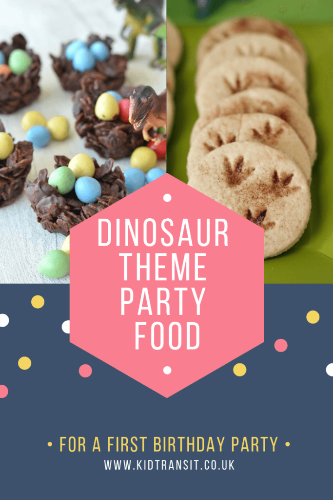 Party food and drink ideas for a dinosaur theme first birthday party.