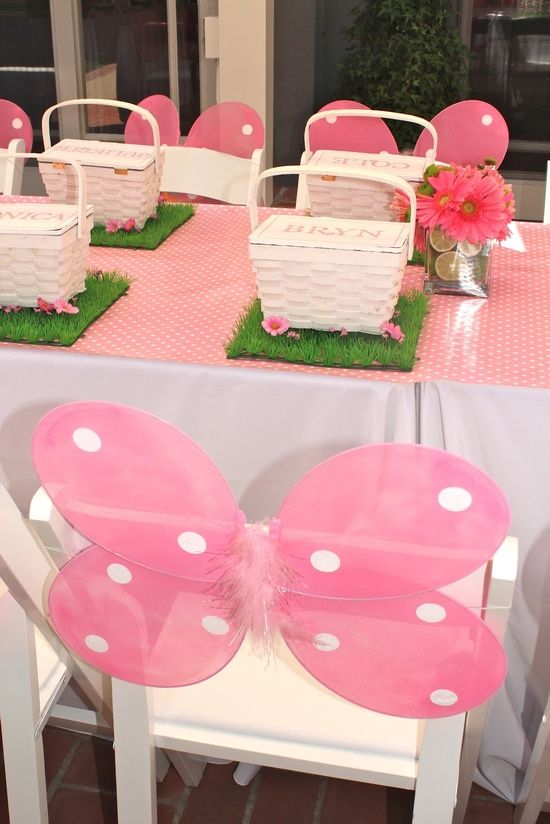Butterfly first birthday decor idea butterfly wings on chair