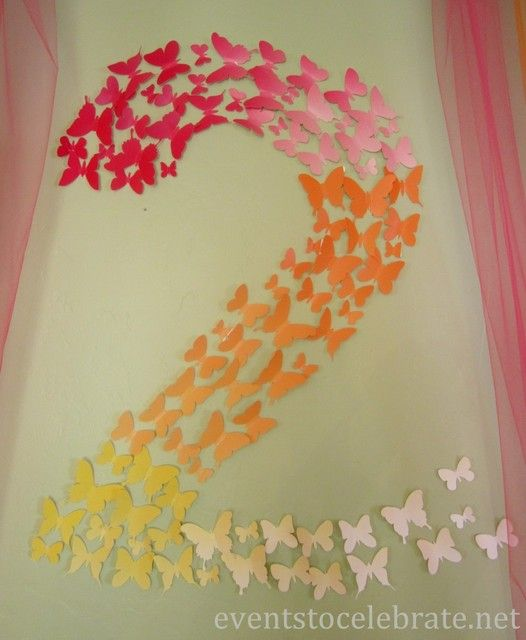 Butterfly first birthday decor idea paper butterfly number