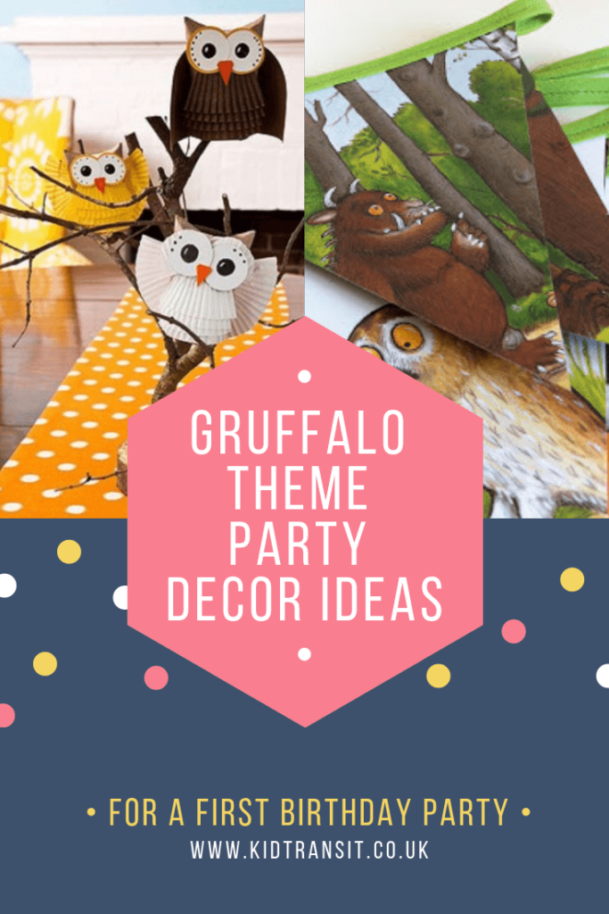Party decor ideas for a Gruffalo theme first birthday party
